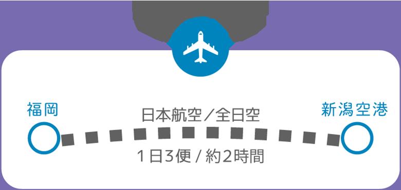 福岡から新潟へ 飛行機の場合